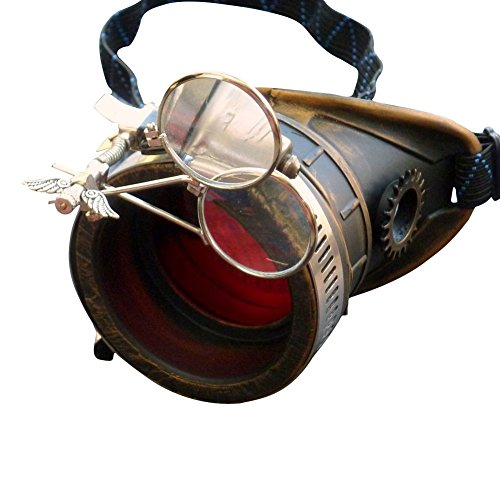 Steampunk Victorian Goggles welding Glasses monocle red lens left eye