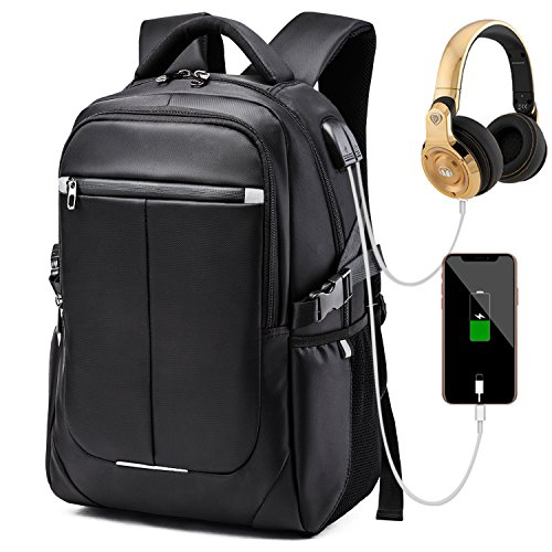 Laptop Backpack, Business Travel Computer Bag Anti Theft Waterproof Backpack with USB Charging Port & Headphone Interface for College School Women and Men Fits for 15.6 Inch Laptop-Black. by Bbjuner