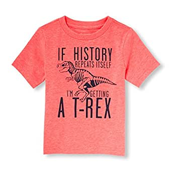 The Children's Place Baby Toddler Boys' Dinosaur Graphic T-Shirt, Sample/Dye Neon Fire Coral, 2T
