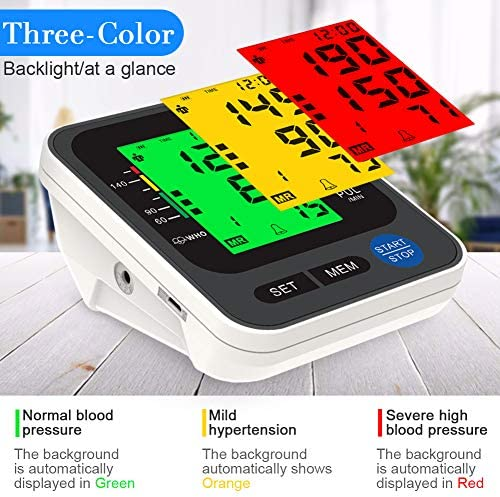 """Blood Pressure Monitor for Home Use with Large 3.5"""" LCD Display, Wowgo Digital Upper Arm Automatic Measure Blood Pressure and Heart Rate Pulse with Wide-Range Cuff,Three-Color Backlight Display 515d5Qq b 2BL"""