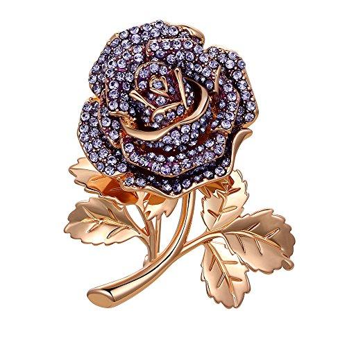 Kemstone Rose Gold Crystal Purple Rose Flower Golden Leaves Brooch Bouquet Women Jewelry