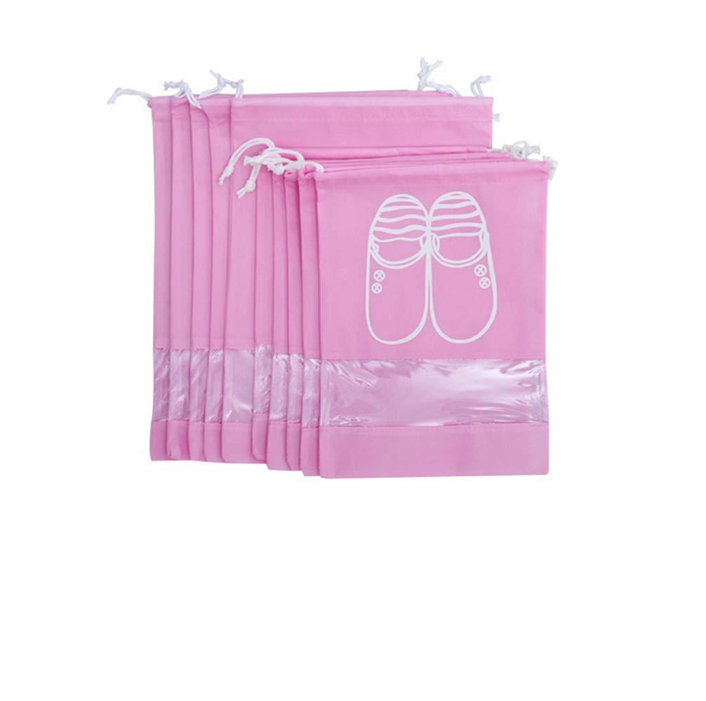 10er Schuhbeutel mit Zugband miteux Schuhtasche Staubdicht Wasserabweisend mit transparentem Fenster Schuhsack Ideal für Reisen Zuhause (Beige)