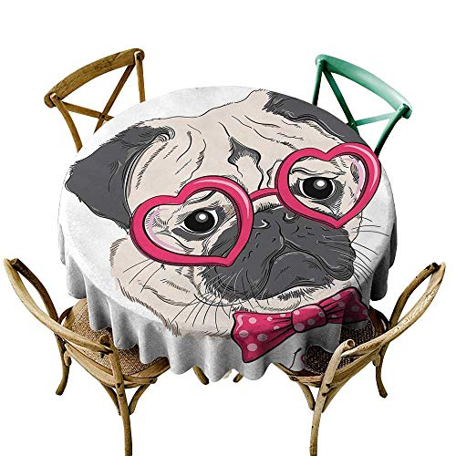 (Wendell Joshua Purple Tablecloth 60 inch Pug,Fashionable Dog with Heart Shaped Glasses and Dotted Bow Tie I Love Pugs Drawing,Pink Grey White 100% Polyester Spillproof Tablecloths for Round Tables)