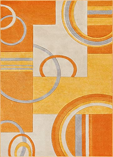 (Well Woven Echo Shapes Circles Orange Modern Geometric Hand Carved 5x7 (5'3