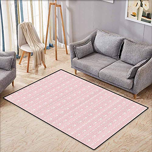 Outdoor Patio Rug,Flowers,Decorations for Home Damask Pattern with Flowers Vintage Illustration,Anti-Static, Water-Repellent Rugs,4