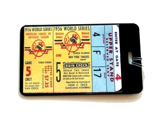 NY Yankees 1956 World Series Ticket Don Larson Perfect Game 5 luggage or book bag tag ()