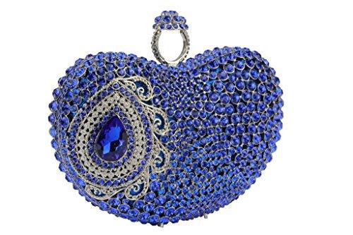 Yilongsheng bolsos de tarde de las mujeres en forma de corazón con piedras de cristal deslumbrante Azul