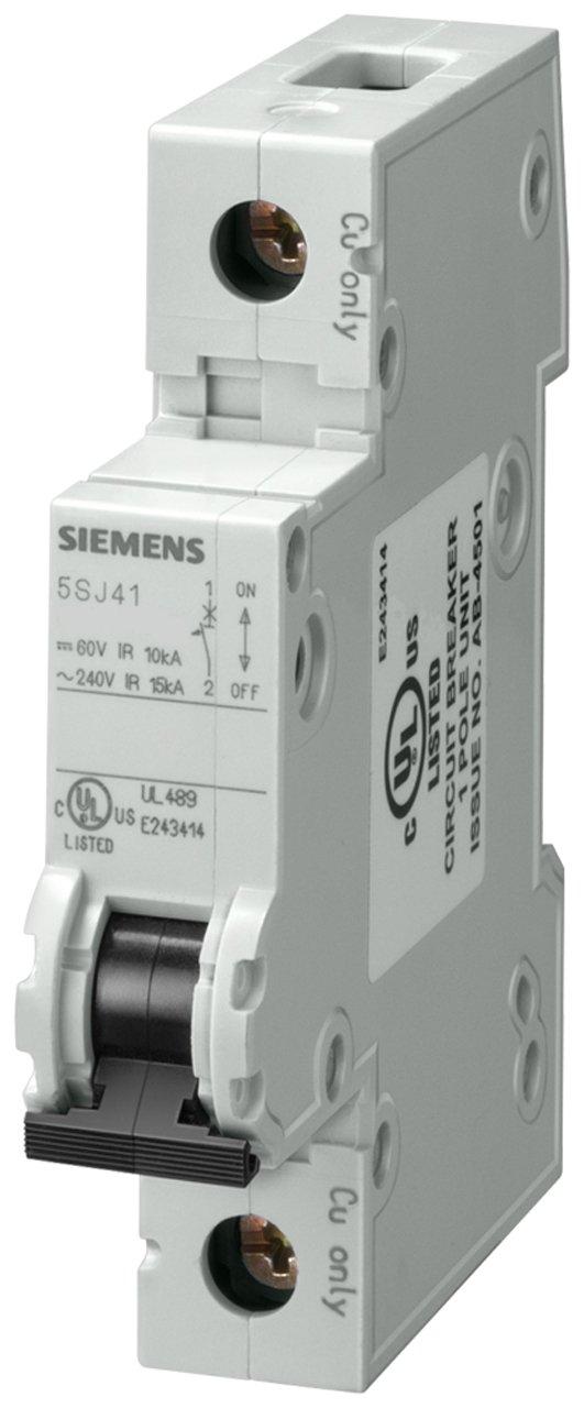 Siemens 5SJ41638HG40 Miniature Circuit Breaker, UL 489 Rated, 1 Pole Breaker, 63 Ampere Maximum, Tripping Characteristic D, DIN Rail Mounted, Type NSJ, 240 VAC, 60 VDC