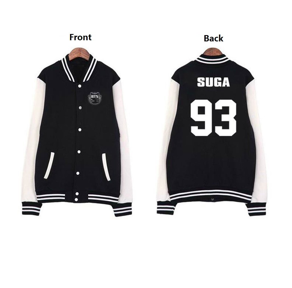 Mainlead BTS Bangtan Boys Baseball Uniform Jacket Coat Sweater(Suga, L)