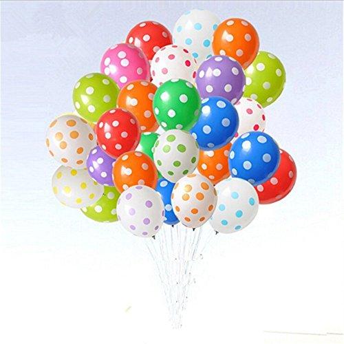 Aekiou 12 Inch Polka Dot Round Latex balloons for for Wedding, Birthday, Party Decorations 100 Pack (Orange Polka Dot Balloons)