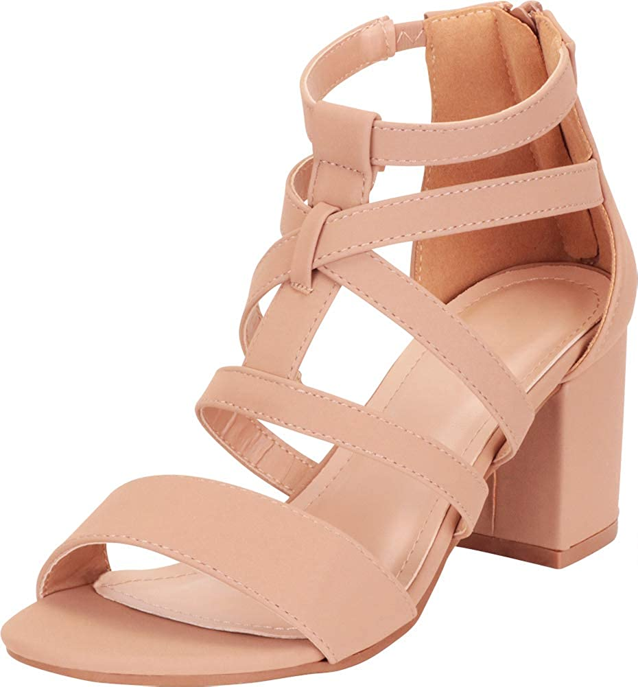 Tan Nbpu Cambridge Select Women's Crisscross Strappy Block Mid Heel Sandal
