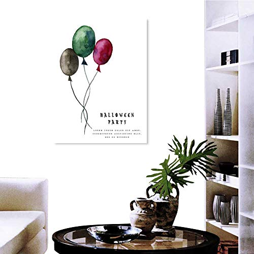 duommhome Wall Art Stickers Halloween Illustration with Balloons on White Background -