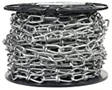 Campbell 0722087 Low Carbon Steel Inco Double Loop Chain, Zinc Plated on Reel, 2/0 Trade, 0.14'' Diameter, 60' Length, 255 lbs Load Capacity