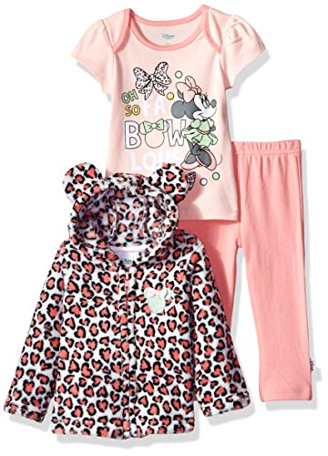 Disney Baby Girls' Minnie Mouse 3 Piece Bodysuit T-Shirt, Hoodie, Pant Set, Crystal Rose, 6-9 Months -