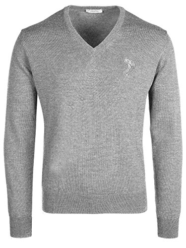 Versace Collection Light Gray V-Neck Wool Sweater - V Versace