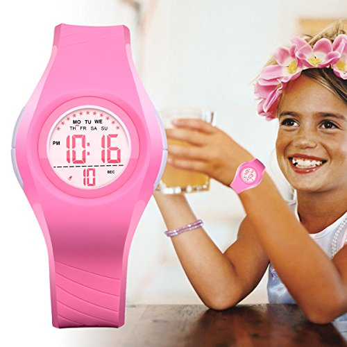 Kids Watch Waterproof Children Electronic Watch - Lighting Watch 50M Waterproof for Outdoor Sports,LED Digital Stopwatch with Chronograph, Alarm,Time Window Child Wrist Watch for Boys, Girls (Pink) by PERSUPER (Image #5)'