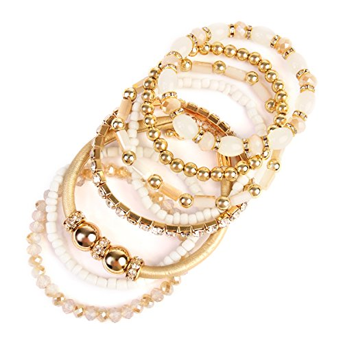 Multi Bangle Set (MYS Collection Riah Fashion Women's Stackable Stretch Multicolor Beaded Bracelet (Natural))