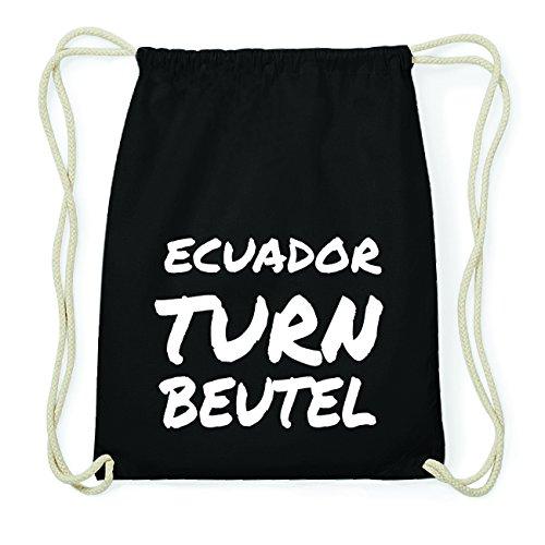 JOllify ECUADOR Hipster Turnbeutel Tasche Rucksack aus Baumwolle - Farbe: schwarz Design: Turnbeutel