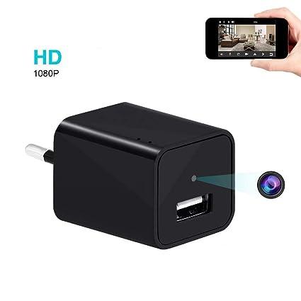 Cámara Oculta, UYIKOO WiFi Cámara espía Adaptador de Cargador USB de Pared Cámara Pequeña Portátil