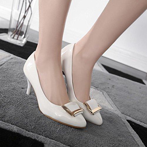 Latasa Womens Pointed-toe High Heel Dress Pumps White eSr1vvjOMl