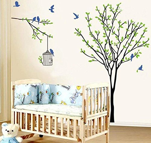 Luxury Hub Wall sticker wall décor 'Root Tree Birds and Cage' Wall Sticker (PVC Vinyl, 90 cm x 60 (Root Cage)