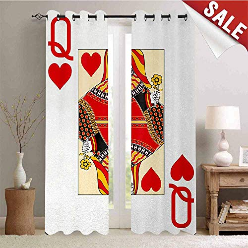 Queen Drapes for Living Room Queen of Hearts Playing Card Casino Design Gambling Game Poker Blackjack Window Curtain Fabric W84 x L84 Inch Vermilion Yellow White (Casino Poker Royale Case)