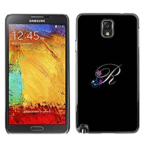 Impact Case Cover with Art Pattern Designs FOR Samsung Note 3 N9000 Black Initials Letter Calligraphy Text Betty shop