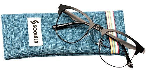 SOOLALA Mens Vintage Inspired Classic Semi Frame Horm Rimmed Reading Glasses, Black, - Rim Semi