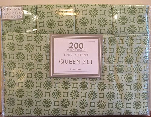 Cozy Home Fashion Medallion Print Easy Care 200TC 6-Piece Queen Sheet Set, Sage