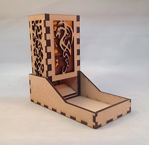 Dragon Mini Dice Tower v4 Amber Acrylic Window Laser Cut MDF Unique Gift