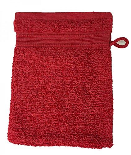 20x15cm Gants de Toilette Alpes Blanc Lot de 10 Gants de Toilette /Éponge 600gr//m/² Coton Rouge//Red