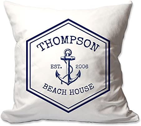 Pattern Pop Personalized Nautical Family Beach House Throw Pillow