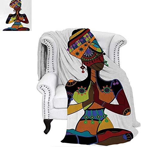 Throw Blanket Woman Figure in Ethnic Style Costume Praying Culture Religion Enlightenment Grace Velvet Plush Throw Blanket 70