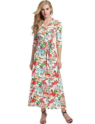 QENCI Vestiti Lunghi Abito Size Corta Collo Tasca Larghi Manica Lungo Sciolto Rosso Casual Maxi Dress Eleganti V Donna Tunica Bianco Plus r57qITr