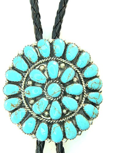 By Navajo Artist J Williams: Man Made Synthetic Turquoise Cluster Bolo Tie ()