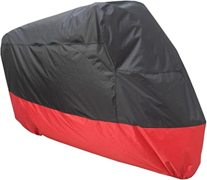 HANSWD Motorcycle Dust Cover Waterproof Uv Cover For Yamaha Kawasaki Universal XXL, Black and Red