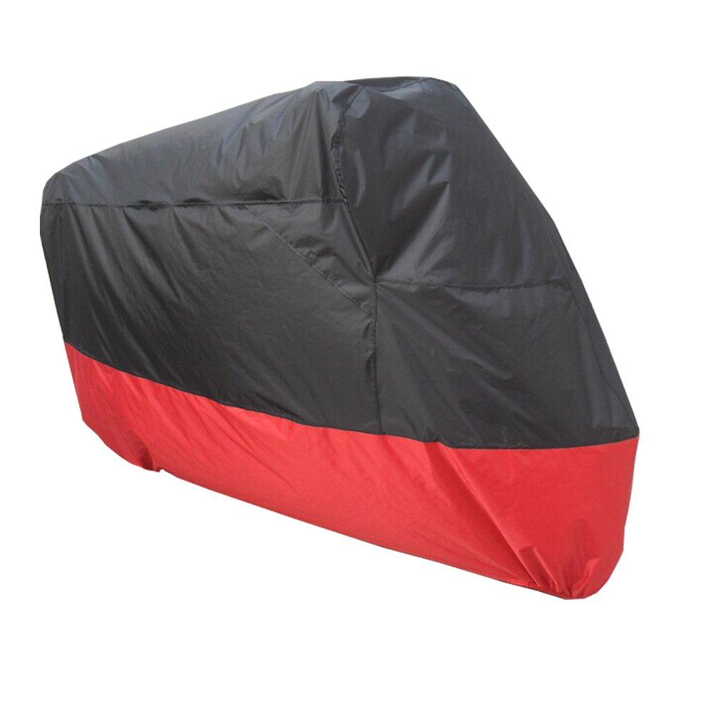 HANSWD Motorcycle Dust Cover Waterproof Uv Cover For Harley Davidson Yamaha Kawasaki Universal (XXL, Black and Red) by HANSWD