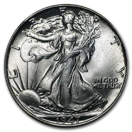 1947 Walking Liberty Half Dollar Brilliant Uncirculated 90% Silver .50 90% Silver US Coin MS/BU Fifty -