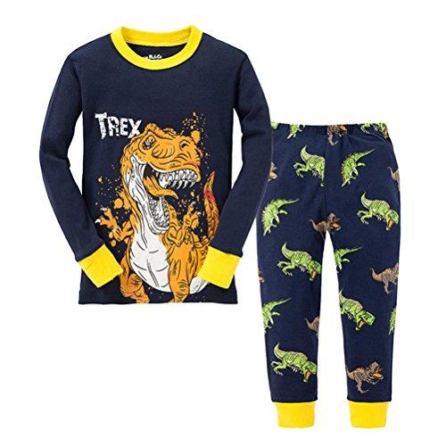 AMGLISE Kids Boys TREX Dino Pajamas 2 Piece Set 100% Cotton (3Y-4Years) ()