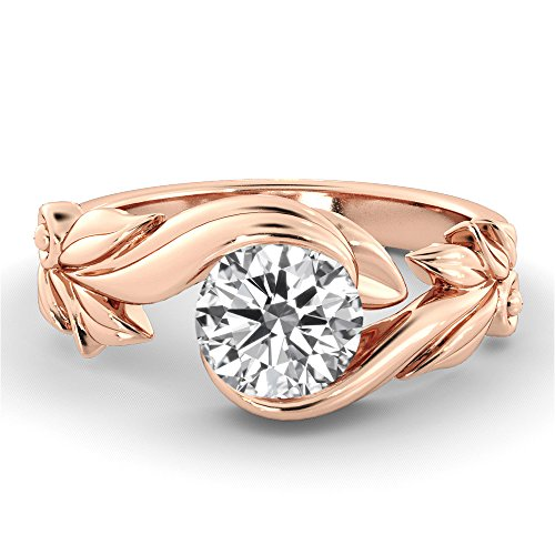 6.50MM Forever One D-F VS Moissanite Ring (0.86 ct Moissanite Weight, 1 ct dew) Round Cut 14K Gold