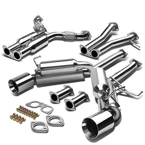 For Nissan 350Z/Infiniti G35 Dual 4.5 inches Rolled Muffler Tip Hi-Power Catback Exhaust System 2006 Infiniti G35 Coupe Horsepower