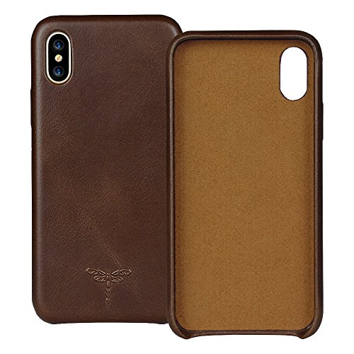 iPhone X Case, iPhone XS Case Genuine Leather Hard Back Case FRIFUN Thin Fit Snap Case Excellent Grip for Apple 5.8