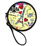 Eiffel Tower Print Women Sexy Kissy Lip Print PU Leather Clutch Purse Wallet Round Cosmetic Bags