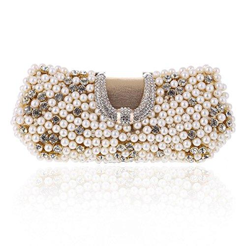 Handbag Minaudiere Gold Clasp Hardcase Damara Beads Damara Women's U Women's wxH8PCRq