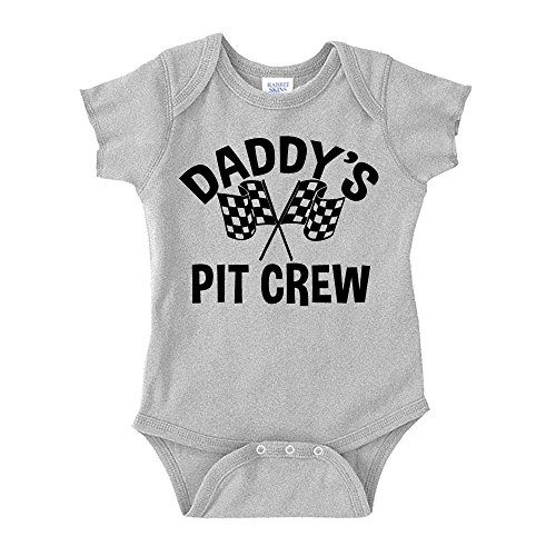 The Shirt Den Daddy's Pit Crew Racing Baby One Piece NB Athletic Heather