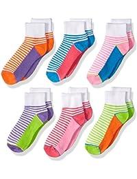 Baby Girls' Sporty Half Cushion Quarter Socks 6 Pair Pack