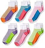 Jefferies Socks Big Girls' Sporty Half Cushion Quarter 6 Pair Pack, Multi, Small