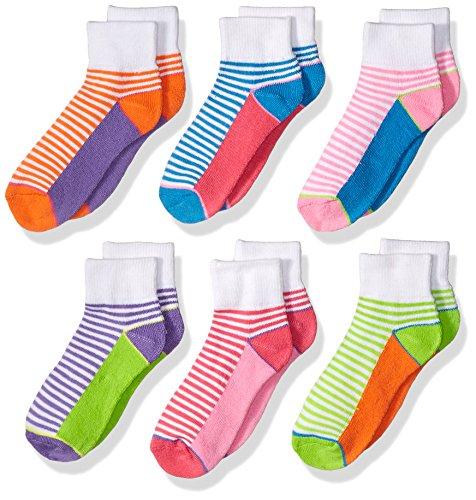 Jefferies Socks Big Girls' Sporty Half Cushion Quarter 6 Pair Pack, Multi, (Jefferies Girls Socks)