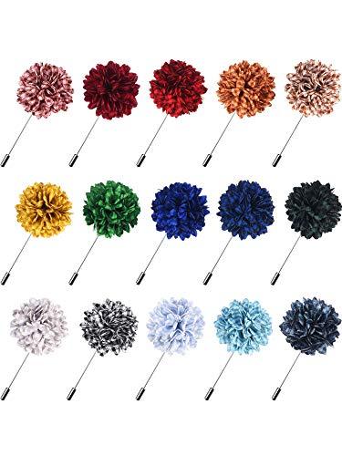 Canomo 15 Pieces Flower Men's Lapel Pins Handmade Felt Boutonniere Pin for Suit Wedding Groom, 15 Colors (Multicolor 1)