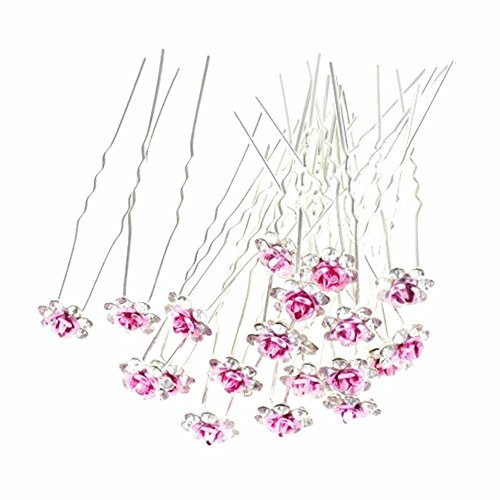 Happy Hours - 20Pcs Handmade U-Shaped Pearl Rose Flower Rhinestone Crystal Hair Pins Clips Barrette for Prom Party Wedding Bridal Bridesmaid Jewelry Accessories(Pink) (Amber Yellow Brooch)